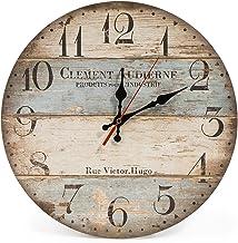 LOHAS صفحه اصلی 12 اینچ طراحی بی نظیر Vintage ساعت دیواری گرد چوبی، عددی عربی، روتختی شیک Shabby شیک سبک، آبی و براون چند بشکه، چوبی دکور خانه دکوراسیون ساعت دیواری (ویکتور هوگو)