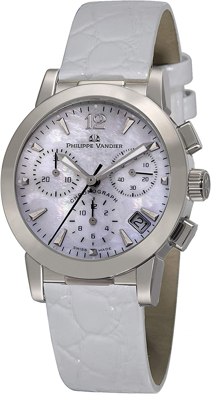 Philippe Vandier Reloj Mujer Swiss Made Olympia Chrono Movimiento Cuarzo Suizo con Cronógrafo Correa de Piel y Cristal de Zafiro