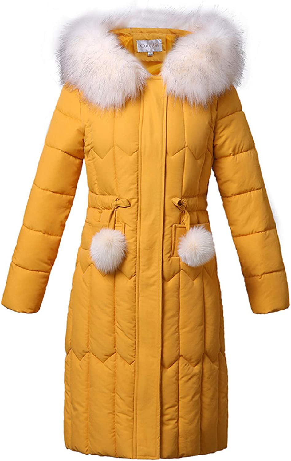 Women's Thickened Winter Quilted Coat Lightweight Puffer Jacket with Faux Fur Trim Hood