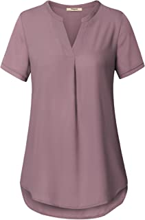 Timeson Women's V Neck Short Sleeve Curved Hem Sheer Chiffon Blouse Shirts Tops