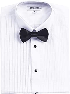 Boy's White Tuxedo Dress Shirt, with Bow Tie and Metal Studs