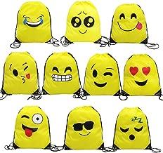 Magift Emoji Drawstring Backpack, Surprise Favourite Party Gift Bag (10 Pack)