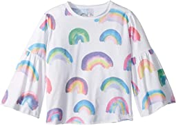 Super Soft Vintage Jersey Rainbow Flared Sleeve Tee (Toddler/Little Kids)