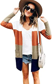 Womens Color Block Striped Drape Long Sleeve Open Front Casual Sweater Cardigan with Pockets