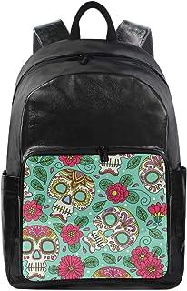 Lustiger Rucksack mit Blumenmuster und süßem Totenkopf-Schultertasche für Wandern, Camping, Schule, Reisen, Computertasche...
