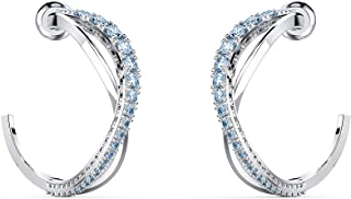 SWAROVSKI Women's Twist Hoop Earrings Collection, Rhodium Finish, Blue Crystals, Clear Crystals