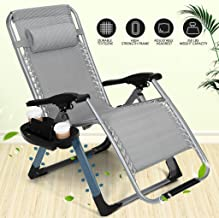 Artist Hand 350LBS Capacity Zero Gravity Outdoor Lounge Chair w/Cup Holder with Mobile Device Slot Adjustable Folding Patio Reclining Chair W/Snack Tray