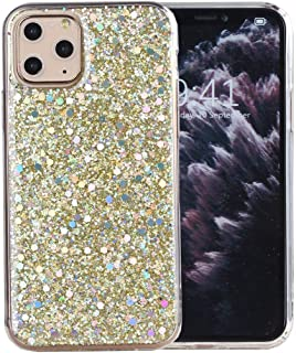 iPhone 11 Pro Case, iYCK Luxury Bling Glitter Sparkle Shiny Transparent Flexible Soft Rubber TPU Protective Shell Hybrid Bumper Case Cover for Apple iPhone 11 Pro 5.8 inch 2019 - Gold