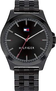 ساعة للرجال بمينا باللون الأسود وسوار من الستانلس ستيل أسود مطلي أيونيًا من تومي هيلفجر- طراز 1791714