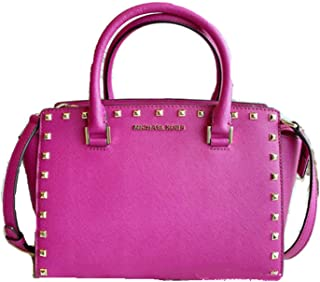 Michael Kors Selma Stud Medium Top Zip Leather Satchel Bag in Fuschia Pink