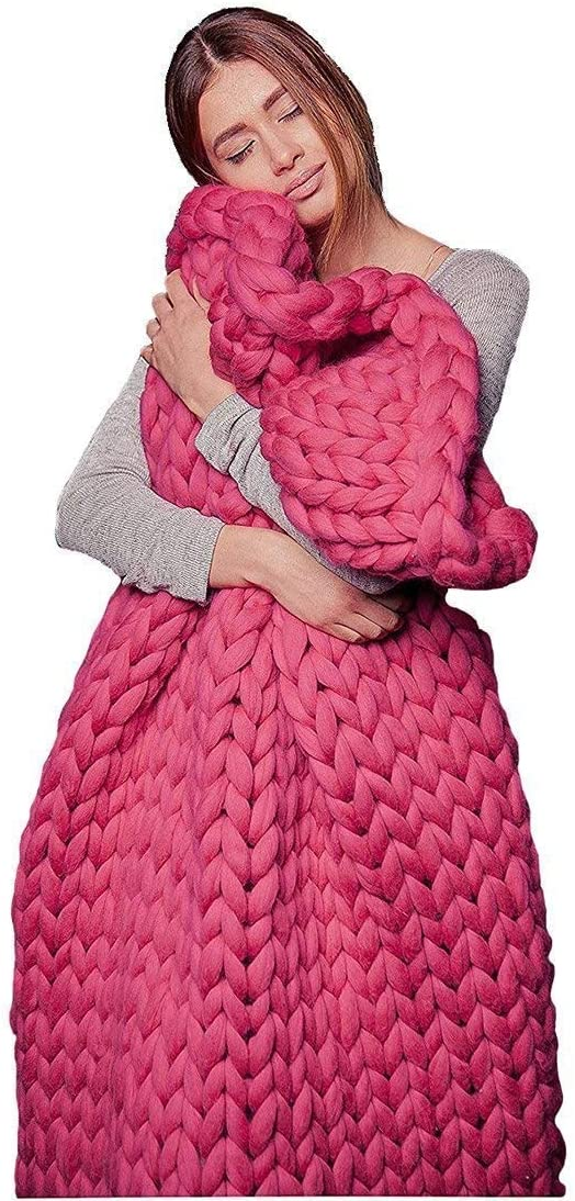 Plush Knit Blanket Handmade Thick Thr Louisville-Jefferson County Al sold out. Mall Wool Bulky Chunky Knitting