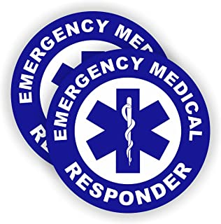Pair - Emergency Medical Responder Hard Hat Stickers / Helmet Decals Labels Firefighter Paramedic EMT AED CPR First Aid Rescue Badges Emblems