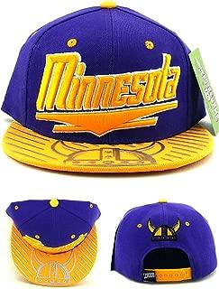 Minnesota New Leader Horned Helmet Chrome Shine Purple Gold Era Snapback Hat Cap