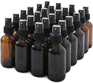 Glass Spray Bottles, ESARORA 24 Pack 2oz Amber Glass Spray Bottle Set Fit for Essential Oils - Cleaning Products - Aromath...