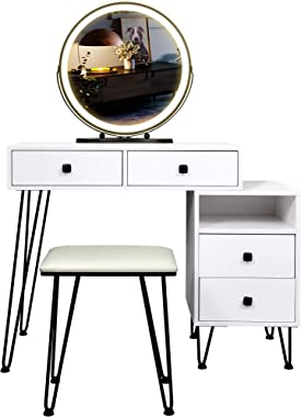 Table Set Makeup Vanity Dressing Table with 3 Colors Lighted Mirror, 1 Storage Cabinet & 2 Drawers, Dressing Makeup Table