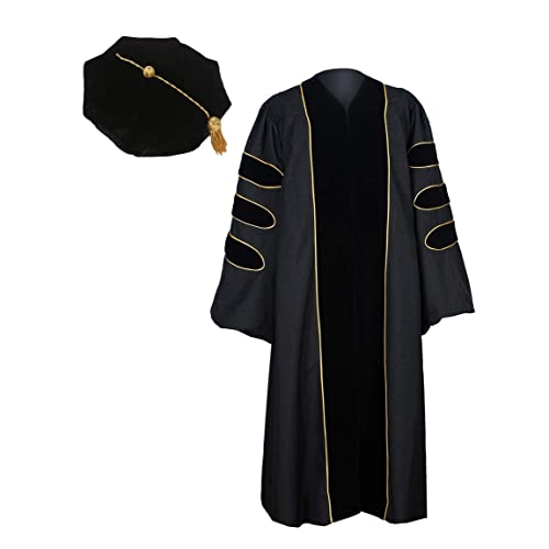 bd26b32459 GraduationService Unisex Deluxe Doctoral Graduation Gown with Gold Piping  and 8-Side Velvet Tam Package