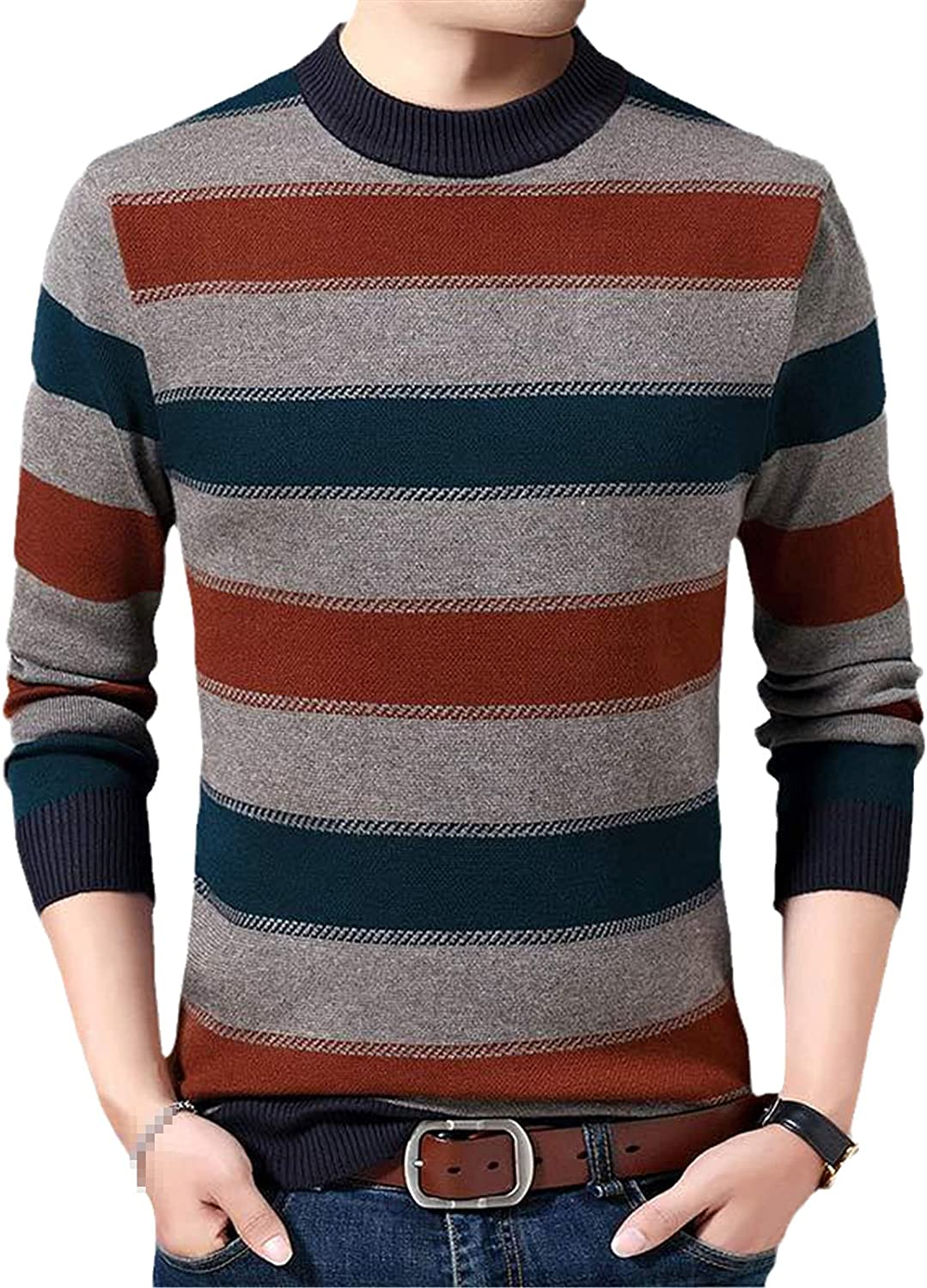 LKIUGVV Casual Thick Warm Winter Striped Knitted Pull Sweater Men Wear Jersey Dress Pullover Knit Mens Sweaters