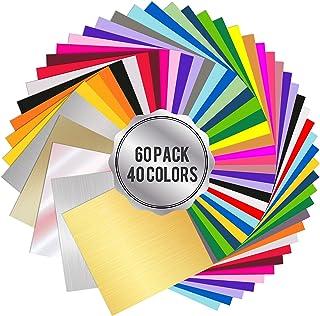 Wishesther 60 Feuilles de Vinyle Adhesif 40 Couleurs 30 x 30cm Papier Transfert Vynil Autocollant pour Cricut Silhouette C...