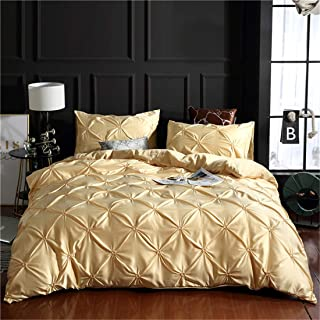 Erosebridal Champagne Pintuck Duvet Cover Set King Silk Like Satin Pinch Pleated Bedding Set with Zipper Ruffle Design Luxury & Microfiber Comforter Cover Pintuck Decorative Bedspread Cover