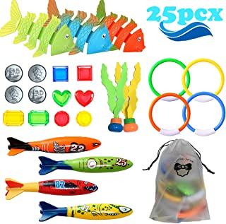 UlaTree 25 PCS Dive Toys for Family Kids with Storage Bag Easy Retrieval Underwater Swimming Pool Toys Diving Torpedos, Di...