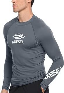 Men Long Sleeve Rashguard UPF 50+ Rash Guard Swim Shirt Athletic Swim Tops