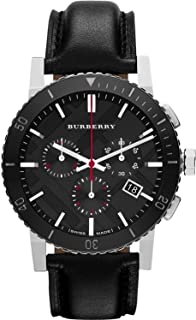 Burberry Bu9382 Men's 42Mm Black Leather Band Steel Case S. Sapphire Swiss Quartz Chronograph Watch, Analog Display