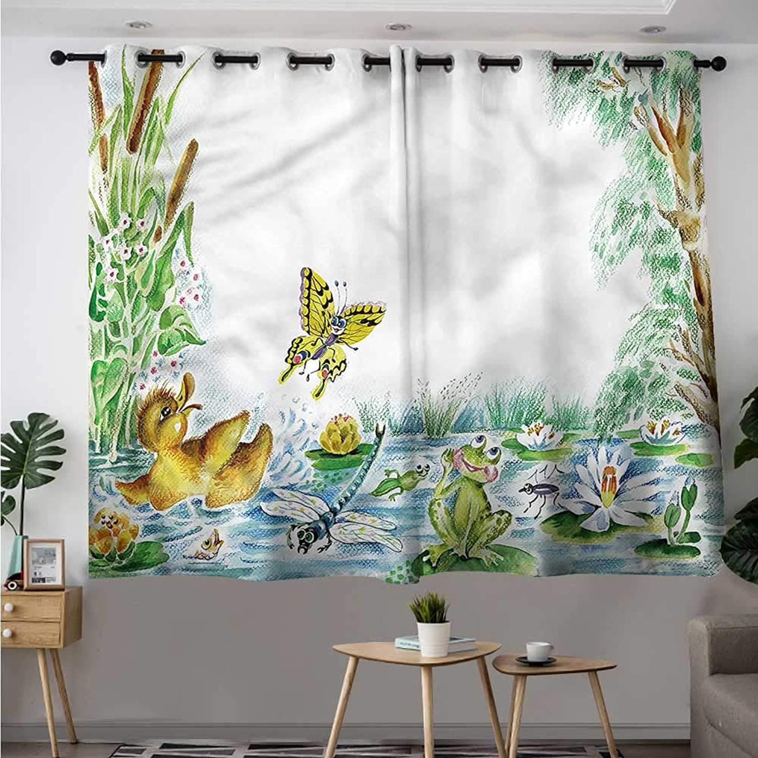 Fbdace Kids Grommet Window Curtain Butterfly Duckling and Frog Room Darkening Thermal W 55  XL 39