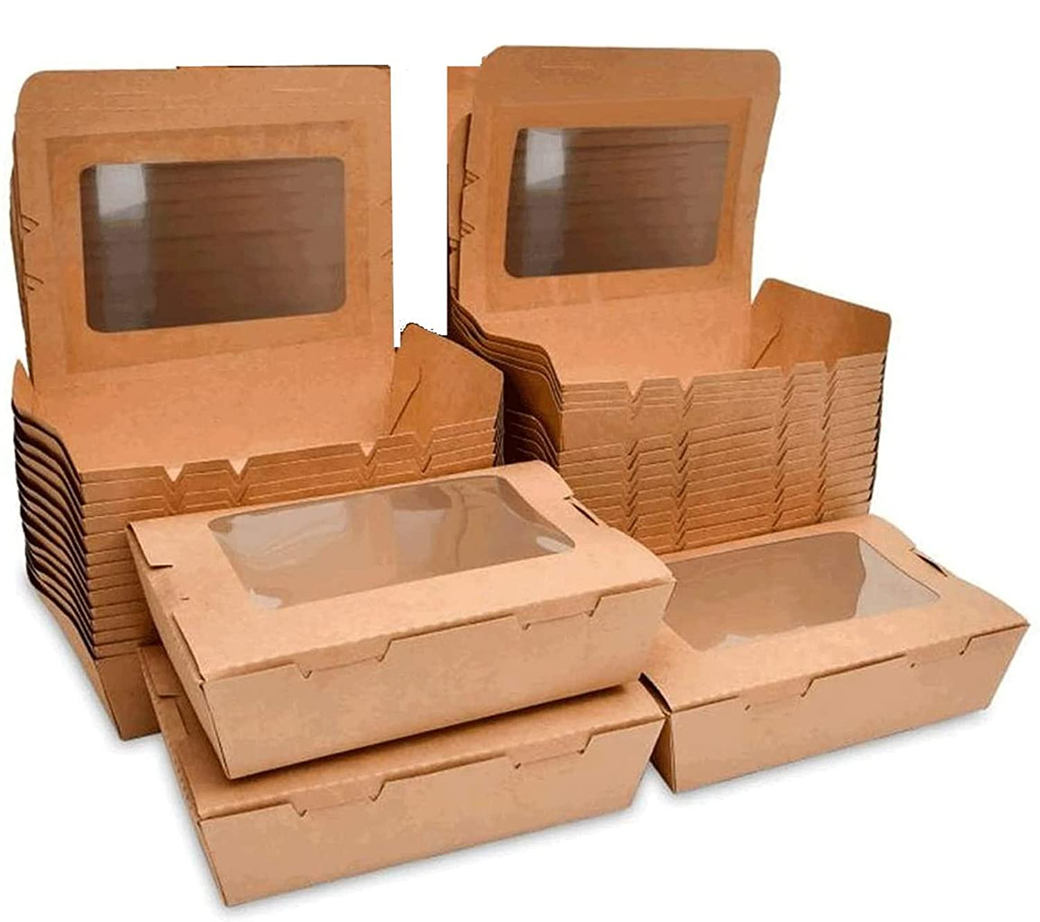 Take Out Food Containers 40 oz (50 Pack) Kraft Brown Food Boxes,