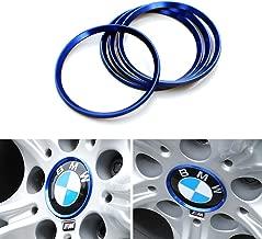 Duoles 4 Pieces Alloy Car Wheel Rim Center Cap Hub Rings Decoration for Audi A3 A4 A5 Q3 Q5 Q7 TT Quattro, BMW X1 X3 X5 1 3 5 6 7 Series (Blue)