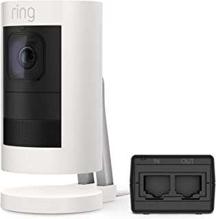 Ring Stick Up Cam Elite, Power over Ethernet HD Security Camera with Two-Way Talk, Night Vision, White, Works with Alexa