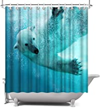 ArtBones Polar Bear Shower Curtain Ocean Animal Underwater Swimming Photo Polyester Fabric Waterproof with 12 Hooks 72x72