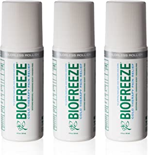 Biofreeze Pain Relief Gel, 3 oz. Colorless Roll-On, Fast Acting, Long Lasting, & Powerful Topical Pain Reliever, Pack of 3 (Packaging May Vary)