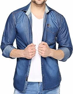 Lafantar Men's Solid Slim Fit Casual Shirt (dms44d_Blue_X-Small)