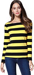 HUHOT Women's Long Sleeve Boat Neck Striped Relax Fit Christmas Tee Shirts