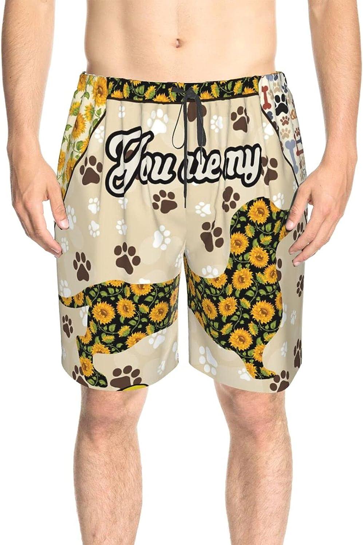 JINJUELS Mens Swim Trunks Sunflower Dachshund Swim Short Boardshort Quick Dry Cool Athletic Swimwear Shorts with Liner