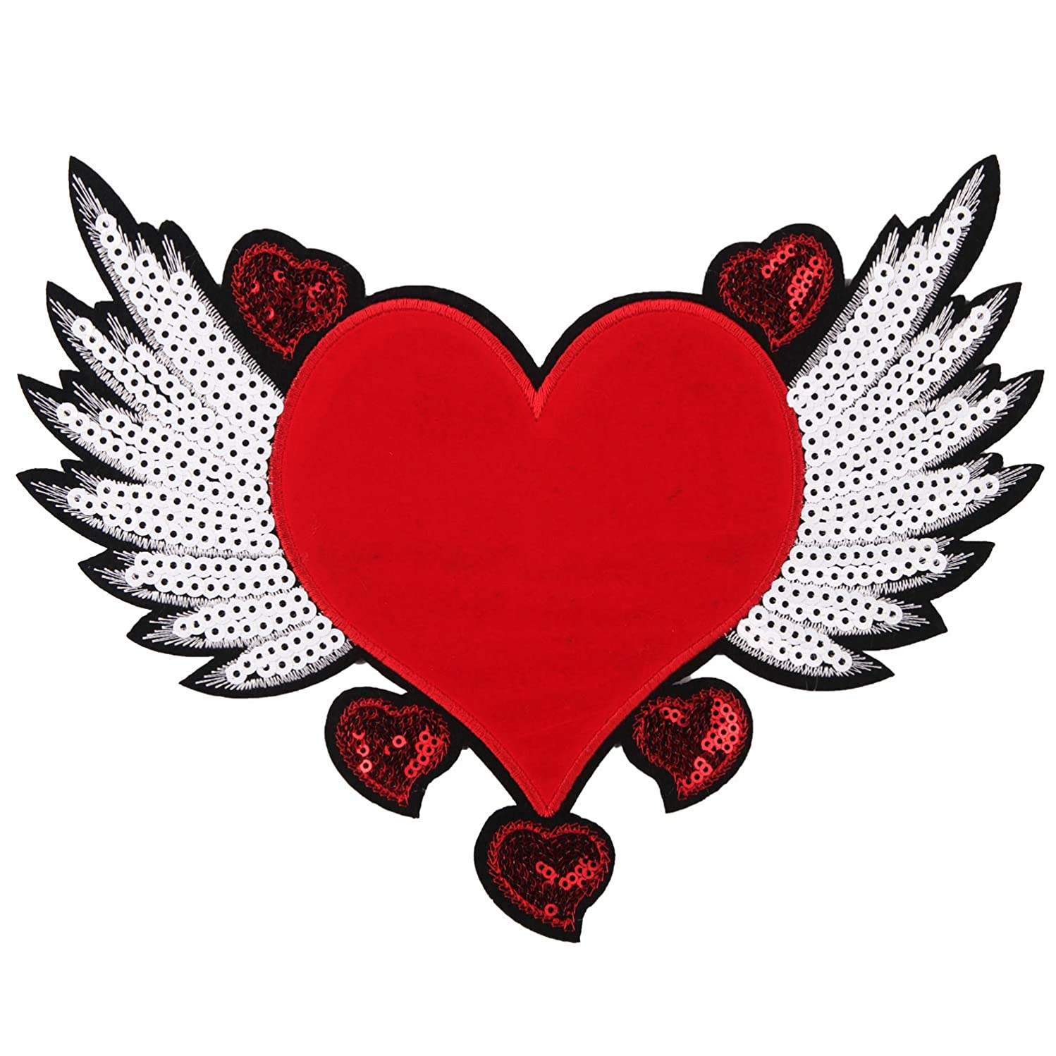 1 Pcs Love Large Sequin Heart Evil Eyes Patches No Glue Cartoon Motif Applique Embroidery Garment Patch Sewing on for Clothes Kids T Shirt Jeans DIY Crafts (Style 7)