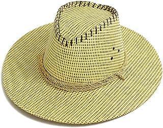 LONGren Cowboy Straw Hat Men's Summer Outdoor Climbing Fishing Sun Hat Big Eaves Beach Hat Sunscreen with Chin Band (Color...