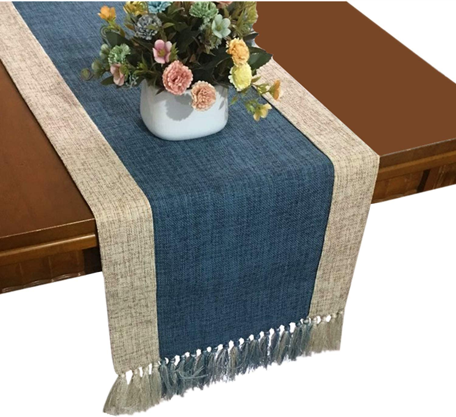 OZXCHIXU 15 Bombing free shipping x Popular 71 inch Cotton Runner Fring Table Blend Linen with
