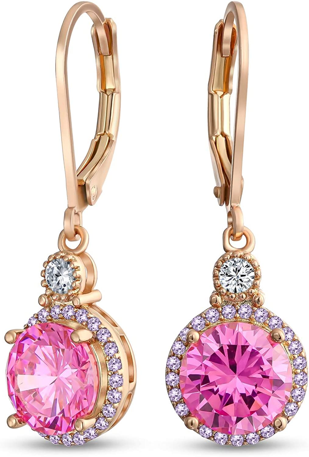 3.5CT Bridesmaid Wedding Round Solitaire Cubic Zirconia Halo AAA CZ Leverback Dangle Drop Earrings For Women More Colors