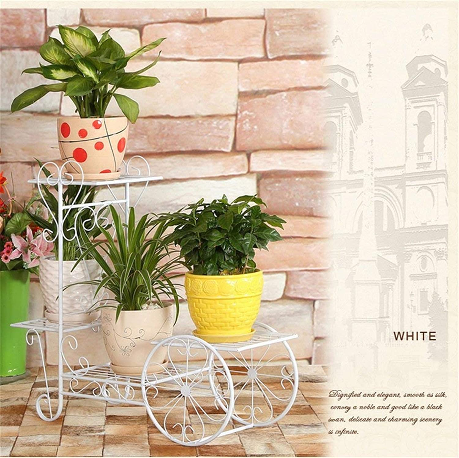 Chuangshengnet Outdoor Indoor Display Plant Stand Indoor Balcony Multi-Layer Floor Type Flowers Green Cranberry Plants (color   White, Size   Large)