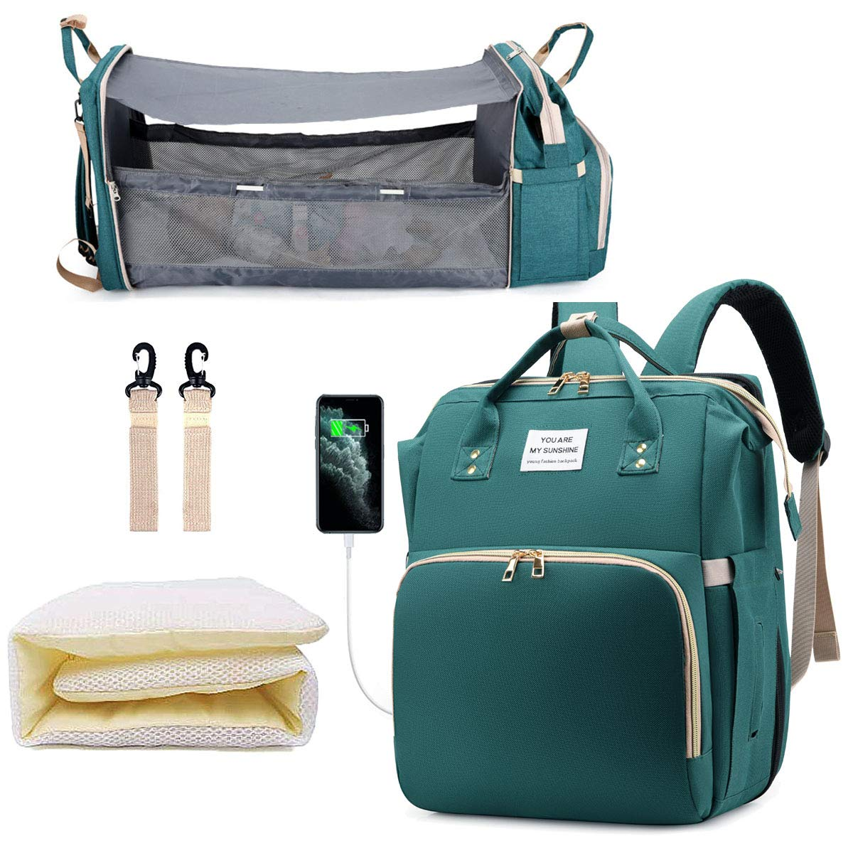 Diaper Bag Backpack, 3 in 1 Diaper Backpack Multifunction Nappy Bag Foldable Baby Bed Travel Bassinet for Baby (Bag+Crib+USB), Maternity Baby Changing Bags, Large Capacity Stylish, Green