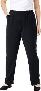 Women's Plus Size Petite 7-Day Knit Ribbed Straight Leg Pant