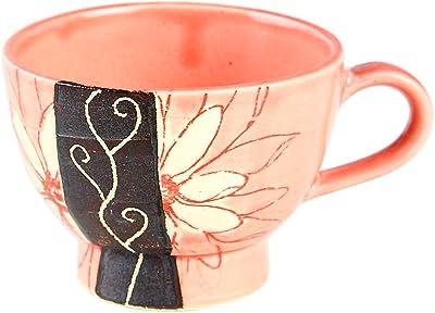 T-Family 伸光窯 フラワーダリア 赤花×ピンク コーヒー碗