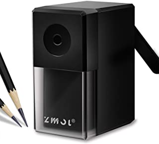 Long Point Pencil Sharpener, Manual Pencil Sharpener,Drawing Pencil Sharpener for Artists,Suitable 6-8mm Sketching/Charcoal/Colored/Graphite/Prismacolor Pencils,5 Adjustable Pencil Nibs,Black