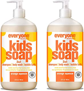 Everyone 3-in-1 Kids Soap - Shampoo, Body Wash, & Bubble Bath - Orange Squeeze, 32 Ounce, 2 Count