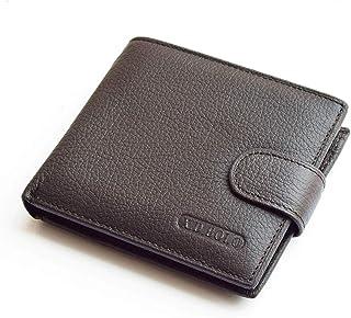 جلد حقيقي جلد البقر المحفظة للرجل، محافظ مع عملة جيب رجل محفظة الجلود حقيبة المال محافظ الذكور (Color : Brown)