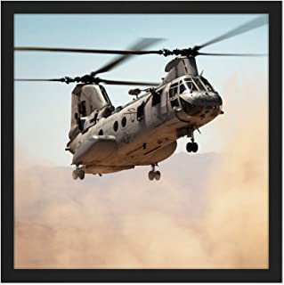 Military USA Marine Corps Helicopter CH-46E Sea Knight Photo Square Wooden Framed Wall Art Print Picture 16X16 Inch