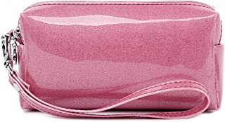 Vigourtrader Designer Cosmetic Bag For Women Patent Leather Makeup Toiletry Bag