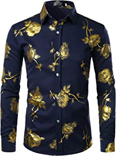 Men's Nightclub Shiny Golden 3D Rose Printed Slim Fit Button Down Party Dress Shirt
