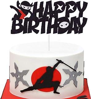 Ninja Cake Topper Happy Birthday Cake Decoration Nijia Theme Boys Bday Party Supplies
